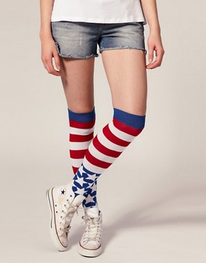 Image 1 ofASOS Stars And Stripes Over The Knee Socks