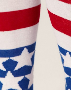 Image 2 ofASOS Stars And Stripes Over The Knee Socks