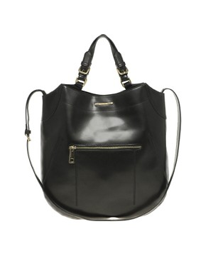 Image 1 ofRiver Island Black Curved Bottom Hard PU Bag
