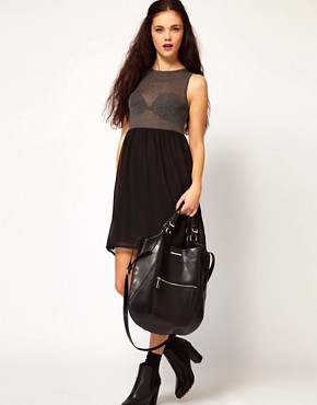 Image 3 ofRiver Island Black Curved Bottom Hard PU Bag