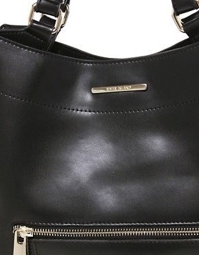 Image 4 ofRiver Island Black Curved Bottom Hard PU Bag