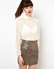 Sister Jane Lace Blouse with Embellished Collar
