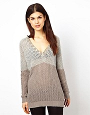 Warehouse Metal Bead V-Neck Jumper
