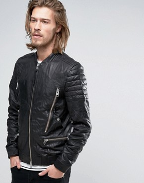 AllSaints Leather Jacket with Multi Zip Pockets