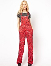 River Island Floral Dungarees