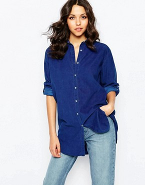 Mih Jeans Oversized Denim Shirt In Clean Blue