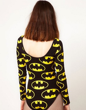Image 2 ofLazy Oaf x Batman Exclusive Bodysuit In Bat Logo Print