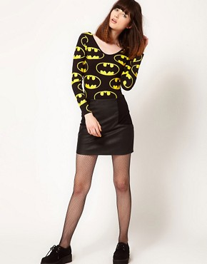 Image 4 ofLazy Oaf x Batman Exclusive Bodysuit In Bat Logo Print