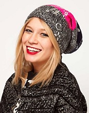 Lauren McCalmont For ASOS Foil Print Cut About Argyle Boyfriend Beanie