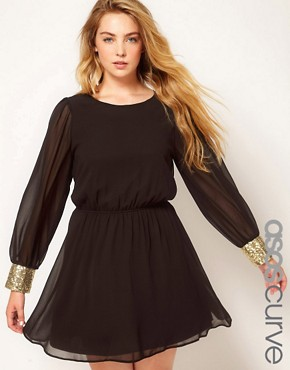 Image 1 ofASOS CURVE Cowl Back Dress With Sequin Cuff