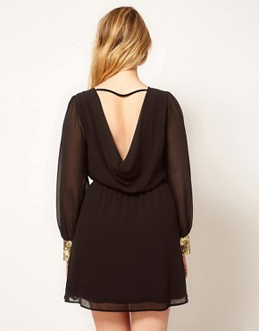 Image 2 ofASOS CURVE Cowl Back Dress With Sequin Cuff