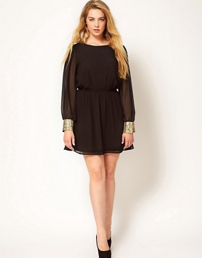 Image 4 ofASOS CURVE Cowl Back Dress With Sequin Cuff