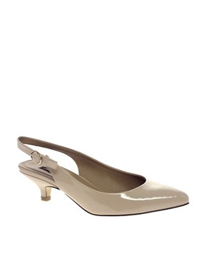 Image 1 ofRiver Island Teak Kitten Heel Slingback Shoe