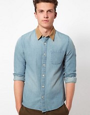 ASOS Denim Shirt With Cord Collar