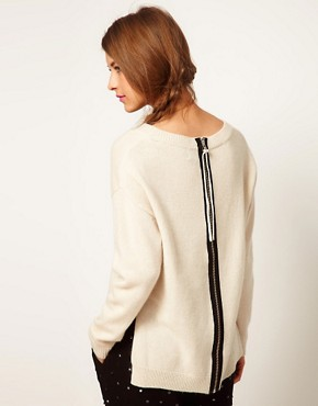 Image 1 ofASOS Lambswool Jumper With Zip Back