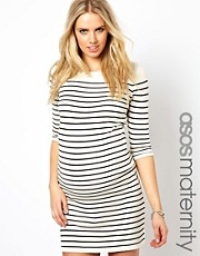 ASOS MATERNITY  Exklusives Strickkleid mit Bretonstreifen und 3/4-rmeln