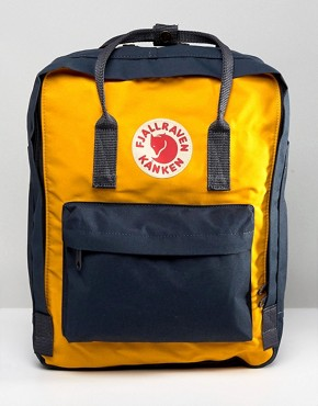 Fjallraven Kanken Backpack in Navy with Yellow Contrast 16L