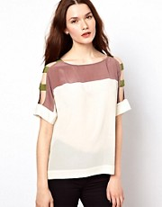 Aryn K Colour Block Blouse With Rolled Sleeves