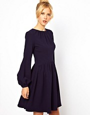 ASOS Skater Dress With Blouson Sleeve