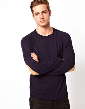 Image 2 of ASOS Raglan Crew Jumper With Elbow Patches