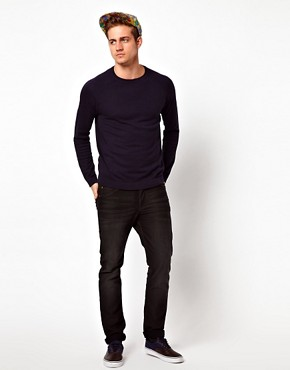 Image 4 of ASOS Raglan Crew Jumper With Elbow Patches