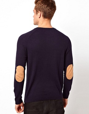 Image 1 of ASOS Raglan Crew Jumper With Elbow Patches