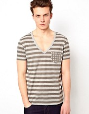 ASOS Stripe T-Shirt With Star Print Pocket