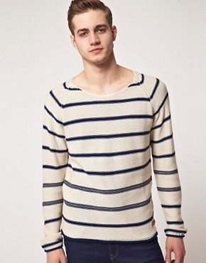 Image 1 ofSelected Dover Stripe Crew Neck Knit