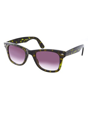Image 1 ofASOS Green Tort Wayfarer Sunglasses