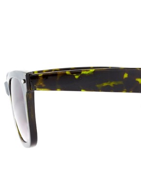Image 4 ofASOS Green Tort Wayfarer Sunglasses