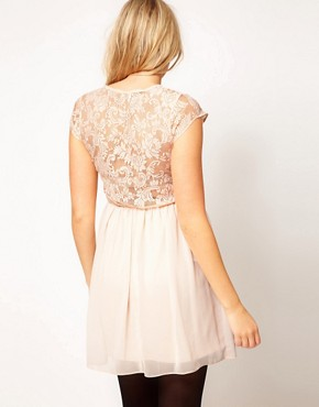 Image 2 ofASOS Maternity Skater Dress In Lace And Chiffon