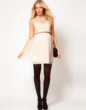 Image 4 ofASOS Maternity Skater Dress In Lace And Chiffon