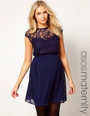 ASOS Maternity Skater Dress In Lace And Chiffon
