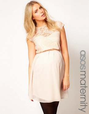 Image 1 ofASOS Maternity Skater Dress In Lace And Chiffon