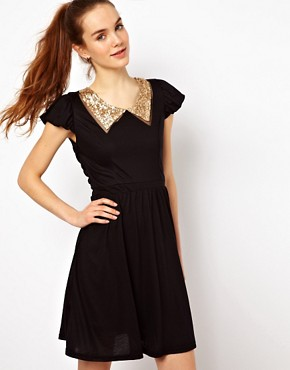 Image 1 ofMina Sequin Collar Dress