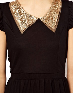Image 3 ofMina Sequin Collar Dress