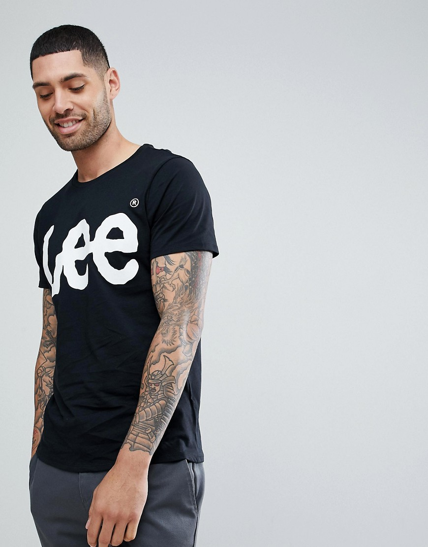 Lee T-Shirt Crew Neck with Logo Print in Black Black