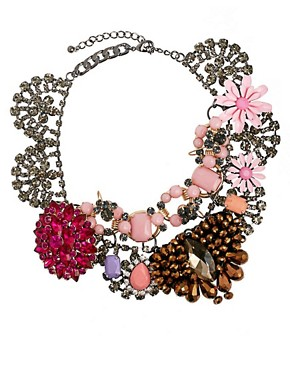 Image 2 ofASOS Premium Jewelled Flower Collar Necklace