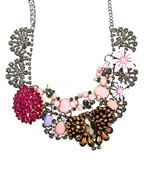 Image 1 ofASOS Premium Jewelled Flower Collar Necklace