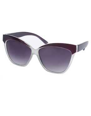 Image 1 of ASOS Cat Eye Sunglasses with Contrast Highbrow