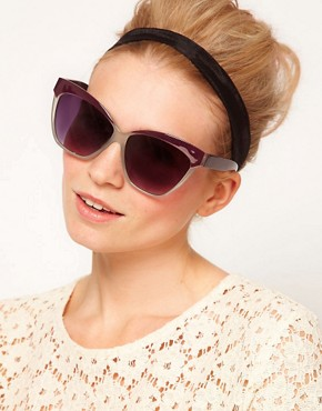 Image 3 of ASOS Cat Eye Sunglasses with Contrast Highbrow