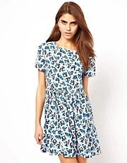 Glamorous Smock Dress in Ditsy Patchwork Print
