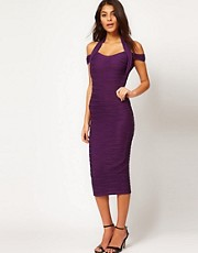 ASOS Ribbed Midi Bodycon Dress With Off Shoulder