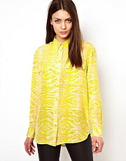 Equipment Signature Silk Shirt in Yellow Snake Print