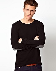 ASOS - Maglia a maniche lunghe con toppe a contrasto sui gomiti