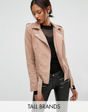 Y.A.S Tall Gwen Suede Biker Jacket With Belted Hem