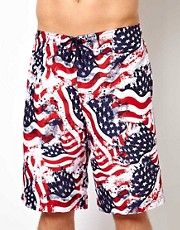 New Look Flag Print Board Shorts