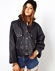 ASOS Waxed Hooded Crop Jacket