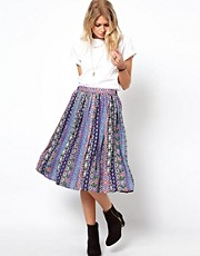 ASOS Midi Skirt in Aztec Floral Print