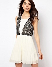 Rare Lace Trim Pleated Skirt Dress